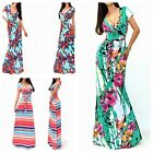 Women Casual Floral V-neck Short Sleeve Bodycon Evening Party Formal Beach Dress
