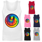 Womens Tie Dye Smiley Face Acid Rave Vest Tank Top NEW UK 8-16