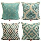 Cotton Linen Blue Rhombus Geometric Pillow Case Sofa Waist Cushion Cover