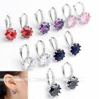Pair Women 18k White Gold Plated CZ Gem Crystal Studded Hoop Earrings Ear Stud