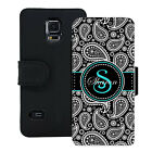 PERSONALIZED WALLET CASE FOR SAMSUNG S5 S6 S7 BLACK PAISLEY