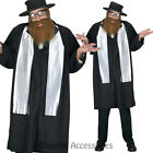 CL770 Rabbi Jewish Religious Coat Tails Hat w/ Beard Fancy Dress Costume Outfit