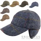 Mens 100% Wool / Tweed Shooting Baseball Cap With Fold Down Ear Flaps