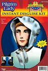 Pilgrim Lady Instant Disguise Costume Hat Collar Shoe Buckles Kit Thanksgiving