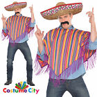 Adults Mens Poncho & Sombrero Mexican Wild West Fancy Dress Party Costume