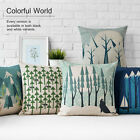 Cotton/Linen Cushion Cover Shell Throw Pillow Case country blue forest snow 1 pc