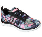 Skechers Women's Flex Appeal Floral Bloom Memory Foam Trainers #12061 BKMT