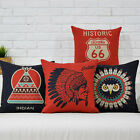Cotton/Linen Cushion Cover Shell Throw Pillow Case BOHO owl black red 1 pc