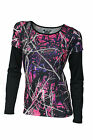 MUDDY GIRL MOONSHINE PURPLE PINK CAMO BLACK LONG SLEEVE SHIRT TOP