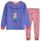 Pyjamas Girls Cotton Knit Pjs (Sz 8-14) Set Purple Cats Sz 8 10 12 14