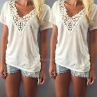 Women Summer Vest Top Short Sleeve Blouse Casual Tank Tops T-Shirt Lace Fashion
