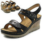 Ollio Women's Shoes Velcro Two Straps Suede Platforms Wedges Sandals