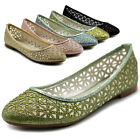 Ollio Women's Shoes Mesh Glitters Comforts Ballets Flats