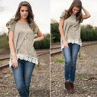 Fashion Women Summer Vest Top Short Sleeve Blouse Casual Tank Tops T-Shirt Lace