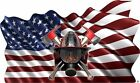 American Flag firefighter helmet shield decal Camper RV motor home mural graphic