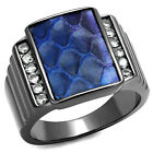 Montana Blue Leather Top Light Black Plated Mens Le Glace Ring