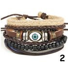 Mens Womens Stretch Multi Row Leather Bracelets Surfer Wide Wood Bead Wristband