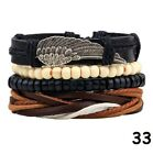 Mens Womens Stretch Multi Row Leather Bracelets Surfer Wood Bead Wristband - 178