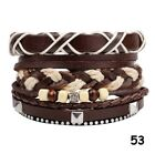 Mens Womens Stretch Multi Row Leather Bracelet Surfer Wide Wood Bead Wristband