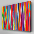AB1010 Modern stripes blue orange Canvas Wall Art Abstract Picture Large Print