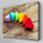 AB719 Modern rainbow red love heart Canvas Wall Art Abstract Picture Large Print