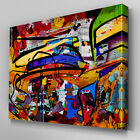AB805 Blue multi colour grafitti Canvas Wall Art Abstract Picture Large Print