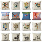 Flamingo Deer Pillow Case Cotton Linen Sofa Throw Cushion Cover Bird Home Decor