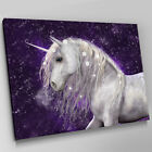 A387 Majestic Unicorn Purple Snow Canvas Wall Art Animal Picture Large Print