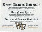 DEMON DEACONS BASKETBALL ~ CERTIFICATE ~ DIPLOMA  ~ MAN CAVE ~ GREAT GIFT  FUN