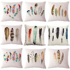Watercolor Art Tribal Feather Printting Pillowcase Sofa Cushion Cover Home Decor