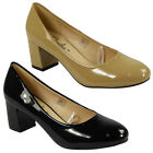 NEW WOMENS LADIES LOW CUBAN HEEL SLIP ON WORK OFFICE COMFY COURT SHOES SIZE