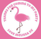 48 Personalised Round Pink Flamingo Birthday Party Stickers Sweet Cone Bags