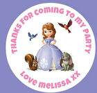 48 Personalised Round Sofia The 1st Birthday Party Stickers Sweet Cone Bags 40mm