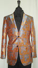Mens Burnt Orange Aztec Paisley Pattern Fashion Blazer by Leonardi Style 855