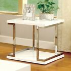Contemporary Chrome Frame Accents Metallic Glossy White Stylish Coffee End Table