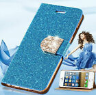 Luxury Shiny Glitter Diamond PU Leather Case Cover For iPhone & Samsung Galaxy