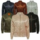 New Ladies Womens MA1 Quilted Padded Satin Retro Vintage Zip Bomber Top Jacket