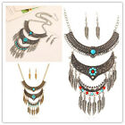 Retro Tribal Antique Silver Dangle Turquoise Leaf Pendant Tassel Jewelry Set