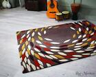 Flair Carnival Swirl Taupe Ochre Red Rugs