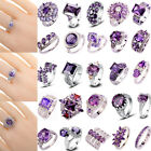 40 Styles Women Charming Jewelry Amethyst Gemstone Silver Ring Gift Size 6-13