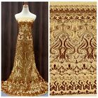 New gold/black/silver heavy sequins evening/show/wedding dress fabirc by yard