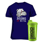 Scitec Nutrition T-Shirt Puppy Navy Blau Fitness Sport + WOD CRUSHER SHAKER