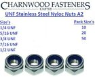 A2 STAINLESS STEEL Nylon Insert Nylock Nyloc Nuts UNF 1/4 5/16 3/8 7/16 imperial