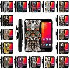 For LG Tribute 5 | Holster Clip + Tempered Glass + Case Stand Ethnic Tribal