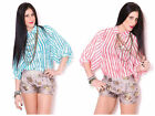 Women's Bomber Bohemian Boho Dolman Sleeve Striped Button Down Blouse Shirt Top