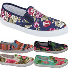 Womens Ladies New Girls Canvas Slip On Flat Pumps Espadrilles Plimsolls Shoes
