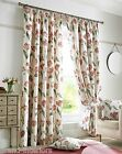 TULIP VINTAGE PLAIN FLORAL CREAM RED LINEN LOOK FULLY LINED CURTAIN TAPE TOP