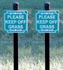 PLEASE KEEP OFF GRASS small size Lawn Sign- Permanently Laser Engraved