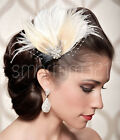 Dyed Peacock Feather Fascinator Wedding Hair Clip Bridal Festival Party Vintage