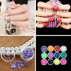 12Pcs Mix Color Tips Nail Art Sticker Acrylic Sequins Glittet Manicure Decor